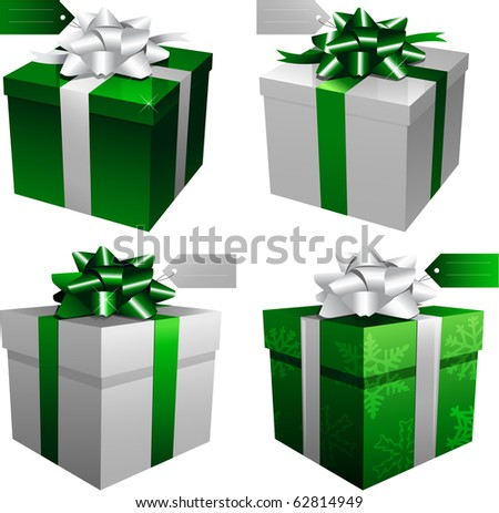 Green holiday christmas gift boxes - stock vector