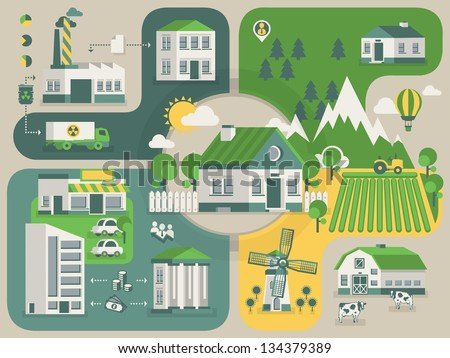 Green home info graphic, ecology background - stock vector