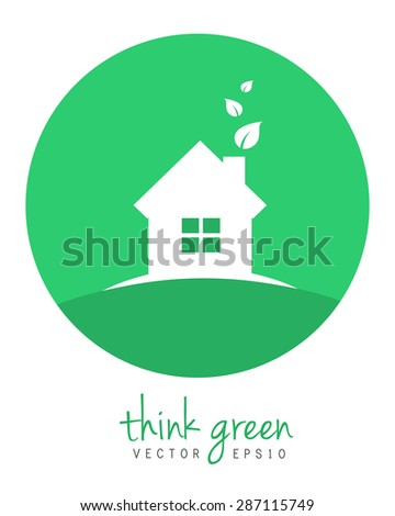 Green home with leaves - logo and icon concept in flat design