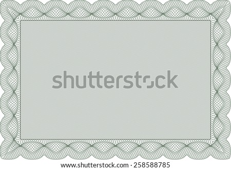 Green Horizontal certificate or diploma template. Vector EPS10 illustration. Isolated with linear background. - stock vector