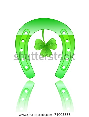 green horseshoe icon with clover on patrick's day. Vector illustration isolated on white background - stock vector