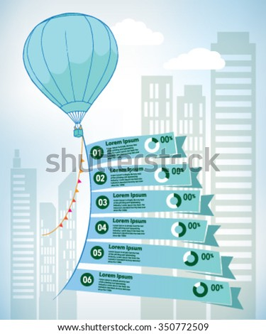 Green Hot air balloon and flags in the sky time line infographic - stock vector