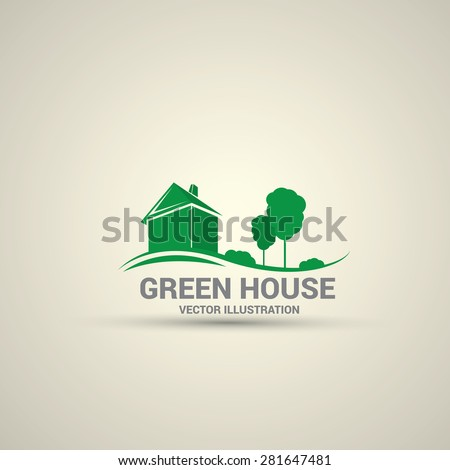 Green House abstract real estate countryside logo design template. Realty theme icon. Building vector silhouette.
