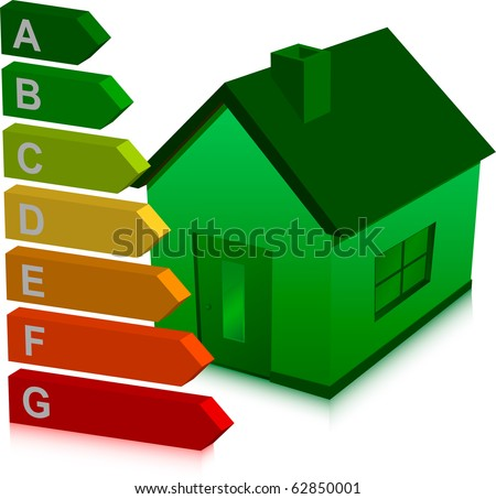green house and energy classification - stock vector