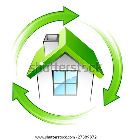 Green house and recycling arrows - stock vector