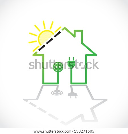 Green house as simple solar electricity circuit - illustration - stock vector