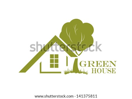 Green house icon. Vector illustration (ecology friendly home) - stock vector