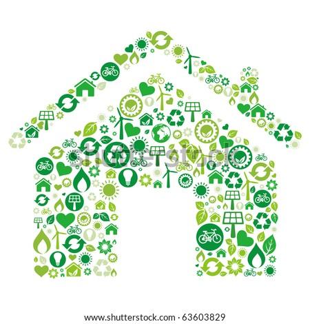 green house illustration,environment icon - stock vector