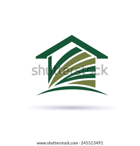 Green House logo with stripes - stock vector