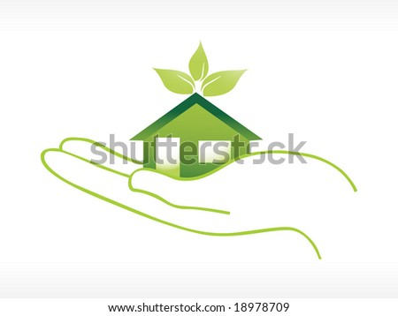 green house on hand, wallpaper - stock vector