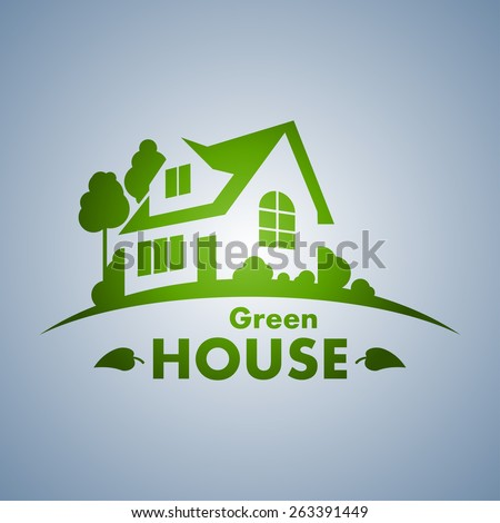 Green house silhouette - stock vector