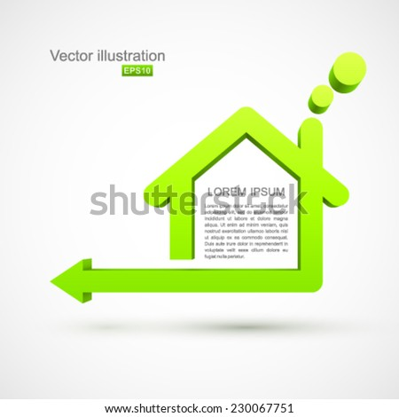 Green house symbol with arrow. - stock vector