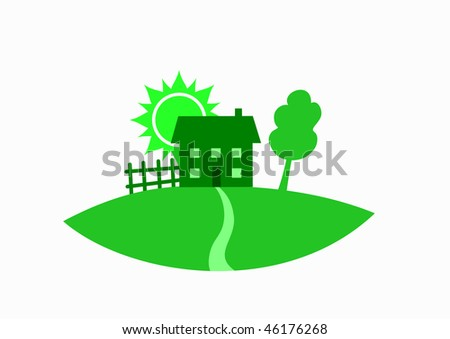 Green house, tree, fence and sun as real estate symbol, vector illustration - stock vector