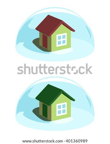 Green house under the blue dome protection. Conceptual ecological vector illustration - stock vector