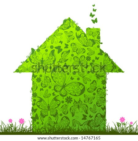 Green house, vector