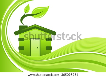 Green house vector background with copy space.