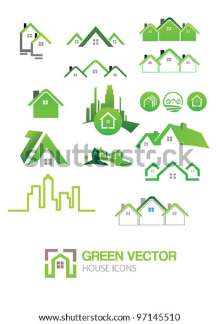 Green house vector Icons - stock vector