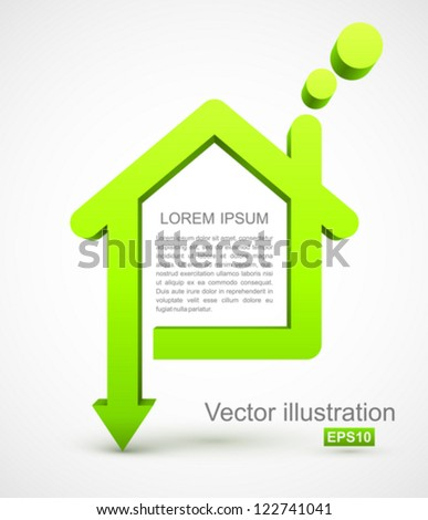 Green house with arrow. - stock vector