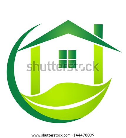 Green house with leaf design vector illustration - stock vector