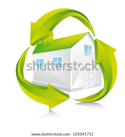 green house with recycle sign over white background. vector - stock vector