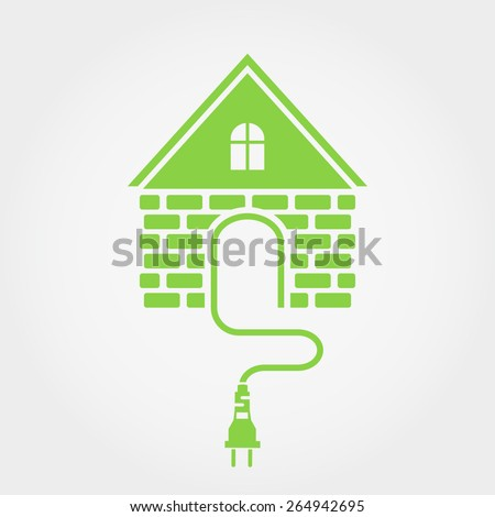 Green house with socket, renewable energy icon