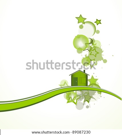 Green house with stars over white background, vector illustration - stock vector