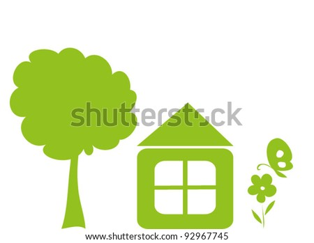 Green house with treem flower and butterfly - stock vector
