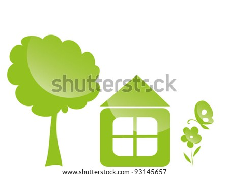 Green house with trees flower and butterfly - stock vector