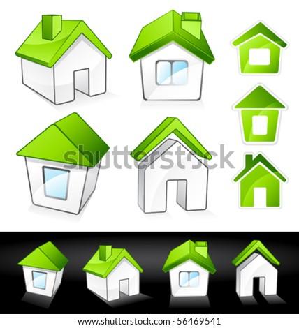 Green houses - stock vector