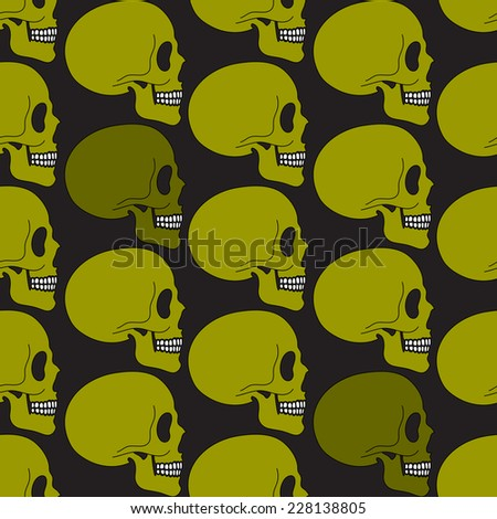 Green human skull seamless pattern in simple style, vector background - stock vector