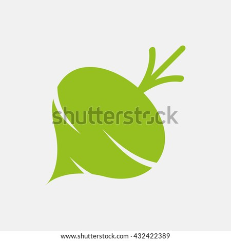 Green icon of Beet or Turnip on Light Gray background. Eps-10. - stock vector