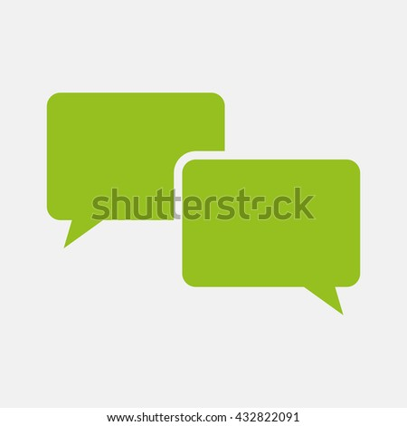 Green icon of Comments on Light Gray background. Eps-10.