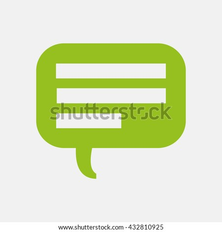 Green icon of Comments Or Speech Bubble on Light Gray background. Eps-10. - stock vector