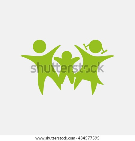 Green icon of Family on Light Gray background. Eps-10. - stock vector