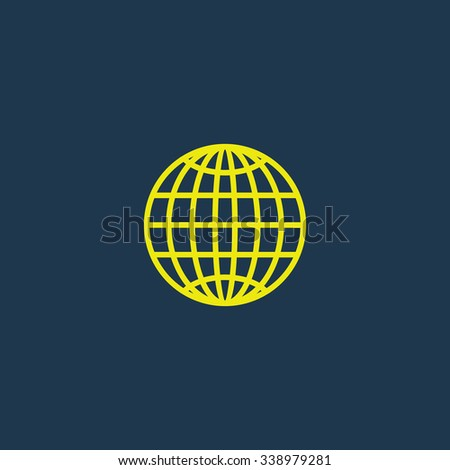Green icon of Globe on dark blue background. Eps.10 - stock vector