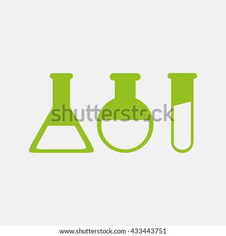 Green icon of Laboratory Glass on Light Gray background. Eps-10.