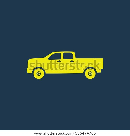 Green icon of Pick-Up Truck, Classic Truck on dark blue background. Eps.10 - stock vector
