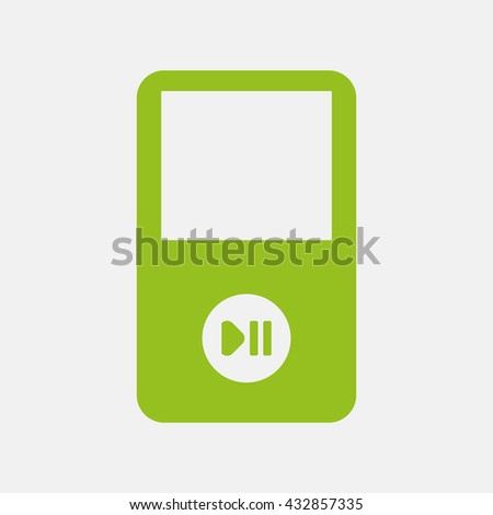 Green icon of Portable Media Player on Light Gray background. Eps-10. - stock vector
