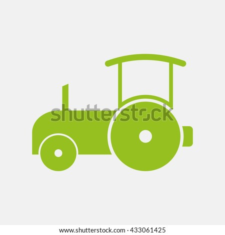 Green icon of Road Roller on Light Gray background. Eps-10. - stock vector