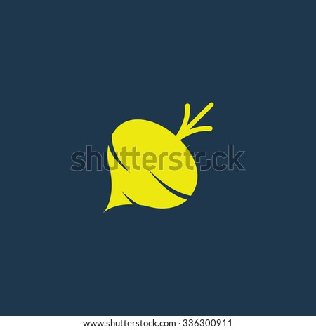 Green icon of Turnip on dark blue background. Eps.10 - stock vector