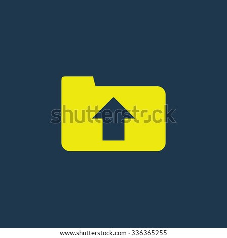 Green icon of Upload on dark blue background. Eps.10 - stock vector