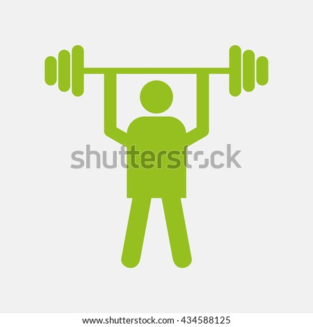 Green icon of Weight Lifter on Light Gray background. Eps-10. - stock vector