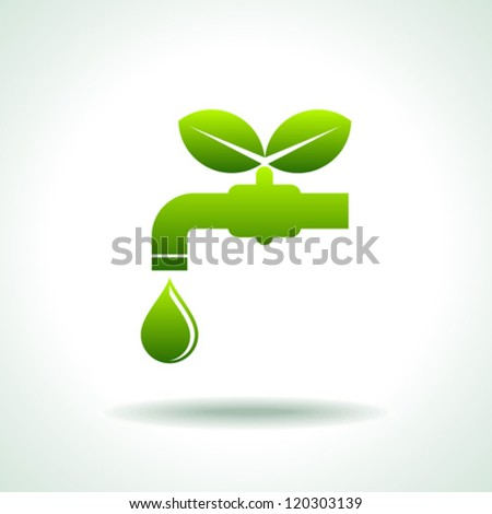 green Icon save environment and water concept - stock vector
