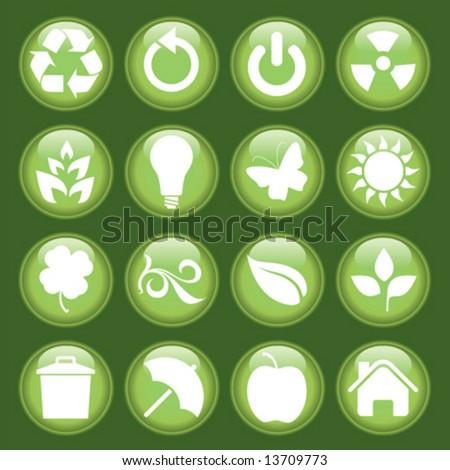 Green icon set - stock vector