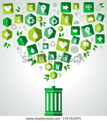 Green icon splash over trash can eco friendly set. Vector file layered for easy manipulation and custom coloring. - stock vector