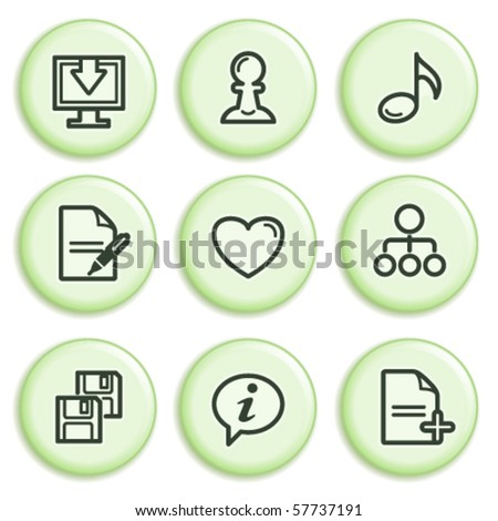 Green icon with button 10 - stock vector