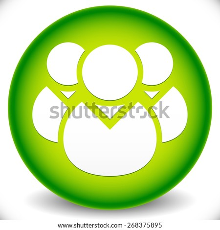 Green Icon with Character Symbol. Icon with Group of 3 People for Gathering, Chat, Forum, Management or Membership Concepts - stock vector