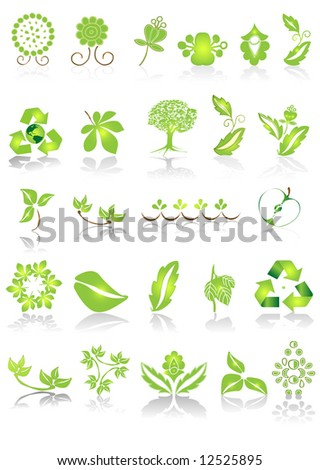Green icons and graphics - stock vector