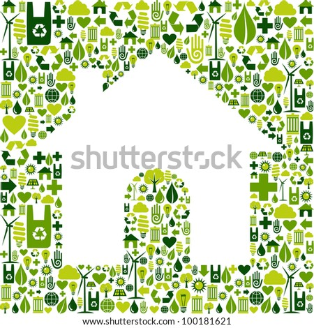 Green icons background in home shape. Vector file available. - stock vector