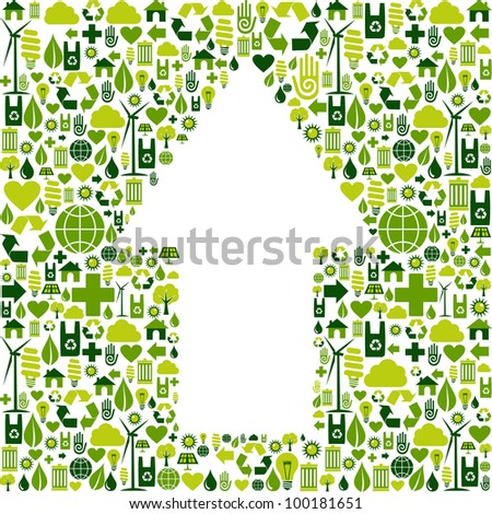 Green icons collection background in up arrow symbol. Vector file available.